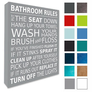 Surprising Details About Bathroom Wall Picture Bathroom Rules Plaque Canvas Prints 20 Colours Sizes 200 Home Interior And Landscaping Ponolsignezvosmurscom