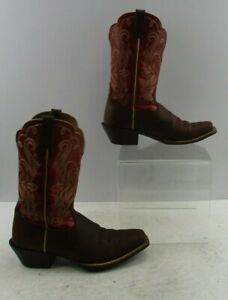 Ladies Ariat Brown / Red Leather Pointed Toe Western Cowgirl Boots Size: 8 B