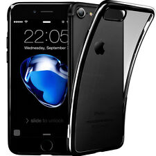 For iPhone 7 Case Crystal Clear Cover + 3D Tempered Glass Screen Protector Black
