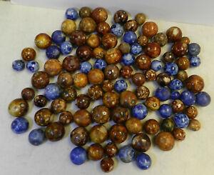 #12139m Vintage Group or Bulk Lot of 100 Old German Handmade Bennington Marbles