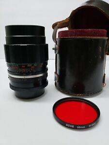 Auto-Spira-Tel-f-135mm-1-2-8-Lens-W-Hoya-55mm-R-25A-red-lens-cover-No-231180E