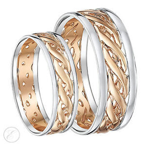 His Hers 6mm 7mm 9ct Rose Gold Celtic Wedding Ring Set Two
