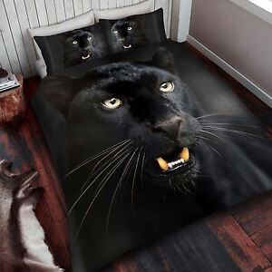 Panthere-Noire-Set-Housse-de-Couette-Simple-Neuf-Animal-Faune-Literie
