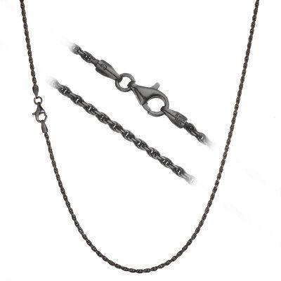 Black Rhodium over 925 Silver 1.7mm Italian Diamond Cut Rope Chain Necklace