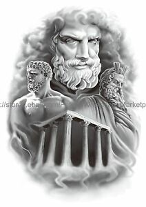 Us Seller Zeus Greek God 8 25 Large Arm Temporary Tattoo Body Art