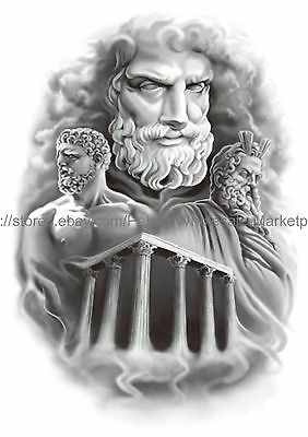 Zeus Greek God 8 25 Large Arm Temporary Tattoo Body Art Tattoos Ebay Zeus wielding thunderbolt lightning tattoo. zeus greek god 8 25 large arm temporary tattoo body art tattoos ebay