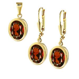 Paar-Granat-echt-Ohrringen-333er-Gelbgold-Tropfen-oder-Kettenanhaenger-Damen