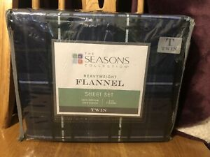The Seasons Collection Heavyweight Flannel Sheet Set. Twin