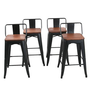 4 Metal Bar Stool 26 Counter Height Bar Chair Stools Low Back