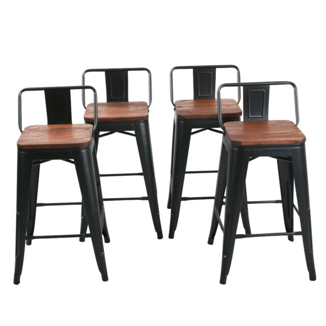 Stupendous 4 Metal Bar Stool 26 Counter Height Bar Chair Stools Low Back Wooden Top Black Andrewgaddart Wooden Chair Designs For Living Room Andrewgaddartcom