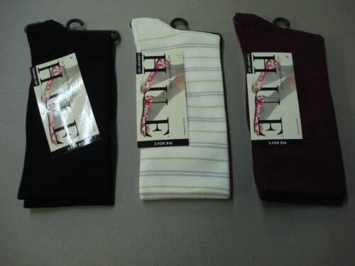 NWT Women/'s Hue Comfort Top Ultrasmooth Socks One Size 3 Pair Multi #810E