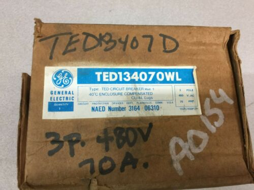 NEW IN BOX GE 70AMP 3POLE 480VAC BREAKER TED134070WL