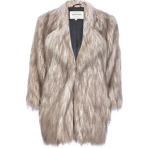 9f61e0510 Details about RIVER ISLAND UK SIZE 8-10 FAUX FUR GREY CREAM SHAGGY COAT  JACKET WOMENS LADIES