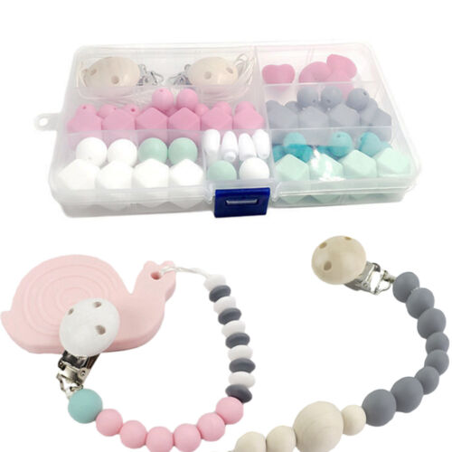 Baby Infant Teether DIY Silicone Craft Set Toy Pacifier Clips Silicone Beads