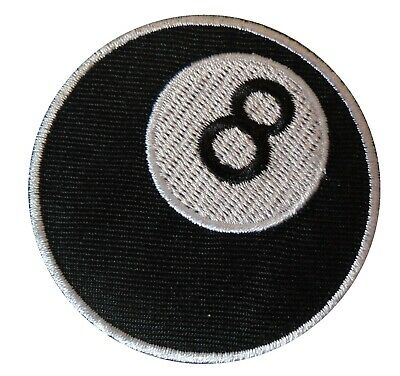 8 Ball Pool Biker Black MOD Scooterist Iron// Sew On Embroidered Cloth MODS Patch