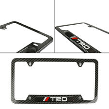 TRD Brand Toyota New License Frame Plate Cover Stainless Steel Carbon Fiber Look