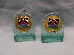 lot-of-2-teacher-039-s-award-metal-insert-trophy-aqua-award-acrylic