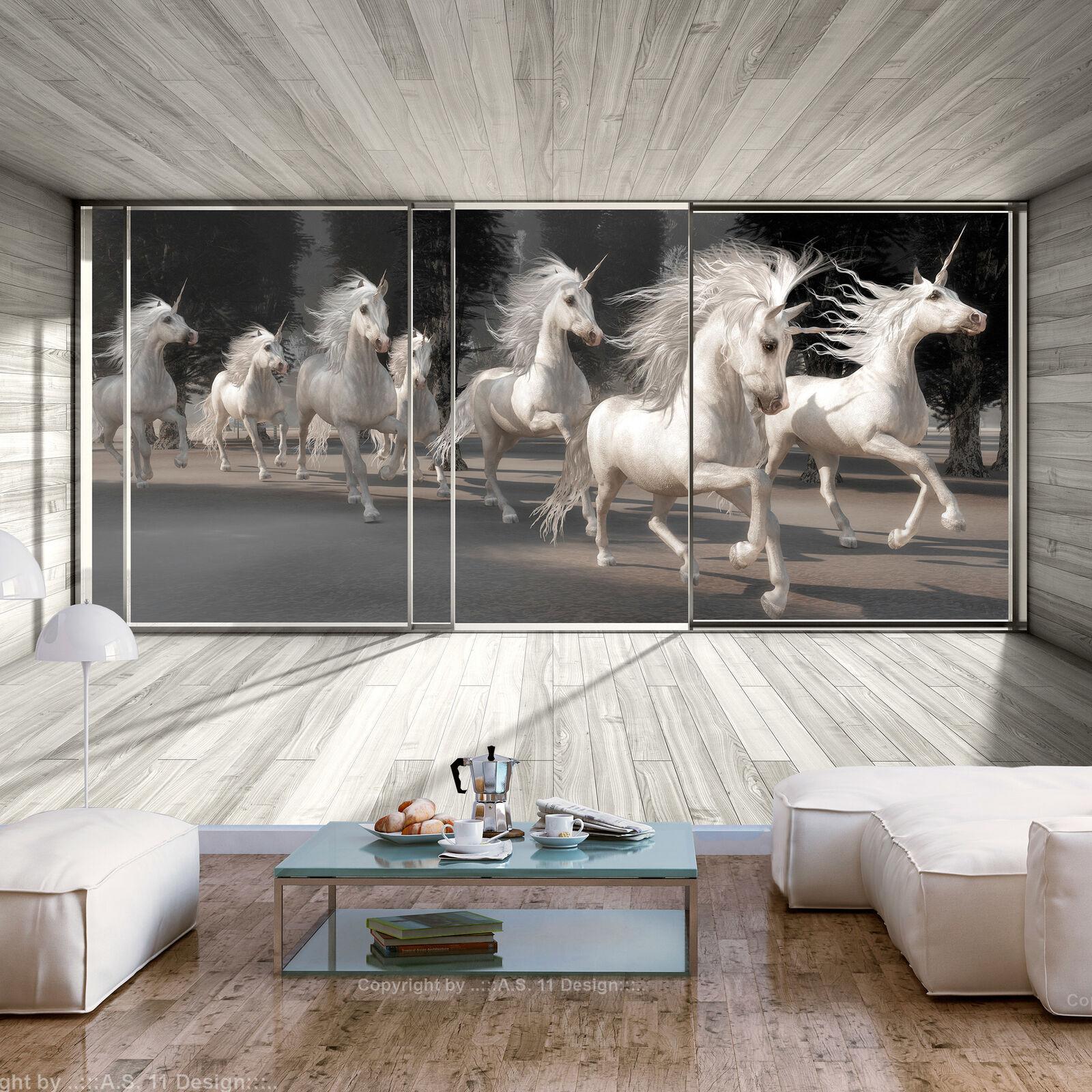 VLIES FOTOTAPETE Pferde Einhorn Holzeffekt grau 3D effekt TAPETE WANDBILDER XXL