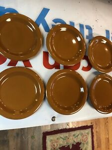 GIBSON-EVERYDAY-8-ROUND-TAN-SALAD-PLATE-SET-OF-6