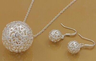 beautiful Fashion silver plated women cute Necklace Earring set wedding jewelry