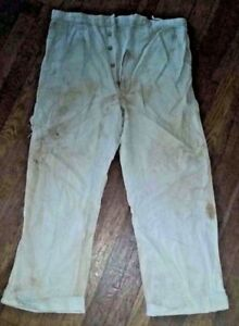 Vintage-1920-30s-Men-039-s-White-Casual-Seersucker-Button-Fly-Pants