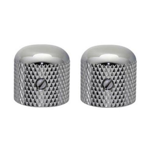 NEW (2) GOTOH VK1-19 Dome Knobs for 6mm Pots Guitar or Bass -  CHROME