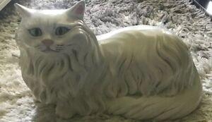 Vintage-White-Persian-Cat-Huge-Alberta-s-Mold-Statue-Ceramic
