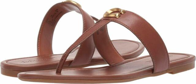 Coach Womens Jessie Leather Open Toe Casual, Saddle Leather, Size 6.5 BN0K