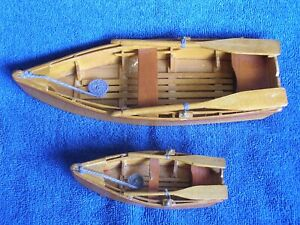 2-Vintage-Homemade-Masterfully-Crafted-Wooden-Model-Rowboats-with-Oars-2-Sizes
