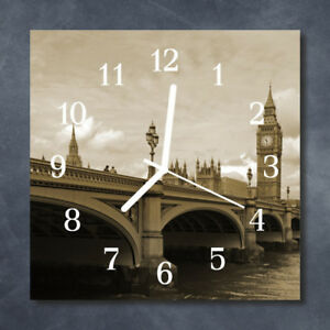 Glass-Wall-Clock-Kitchen-Clocks-30x30-cm-silent-Bridge-Sepia