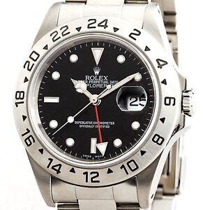 Mens-40mm-Rolex-SS-Stainless-Steel-Explorer-II-Date-Watch-Oyster-Black-16570