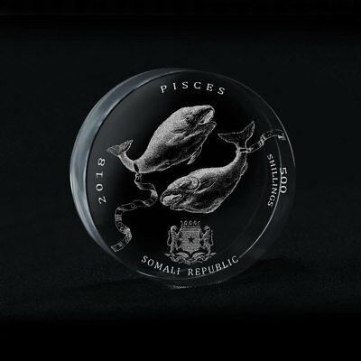 Somali Republic 500 Shillings Signs of Zodiac Aquarius Crystal Coin 2018 Rare