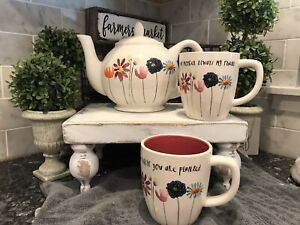 NEW-RAE-DUNN-Magenta-SPRING-BLOOM-TEA-POT-amp-CUPS-MOTHERS-DAY-SET