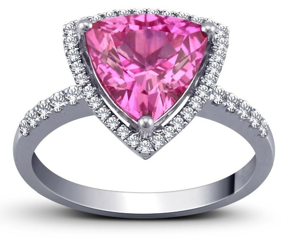 Pink Sapphire Trillion Shaped Solitaire Ring With Pave Set Sterling 925 Size 7.5