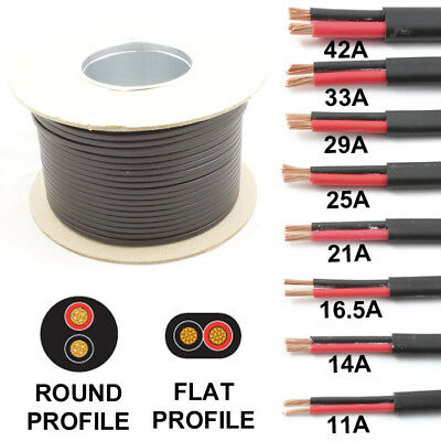 30m Black /& Red Thin Wall 16.5 amp 2 Core Auto Cable Round Twin Black TW02//03