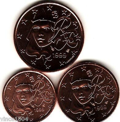 lot 1,2,5 cts cent centimes euro France 1999 , qualité UNC !!