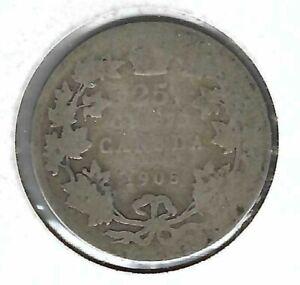 1905-Canada-Silver-Circulated-Edward-VII-Twenty-Five-Cent-coin