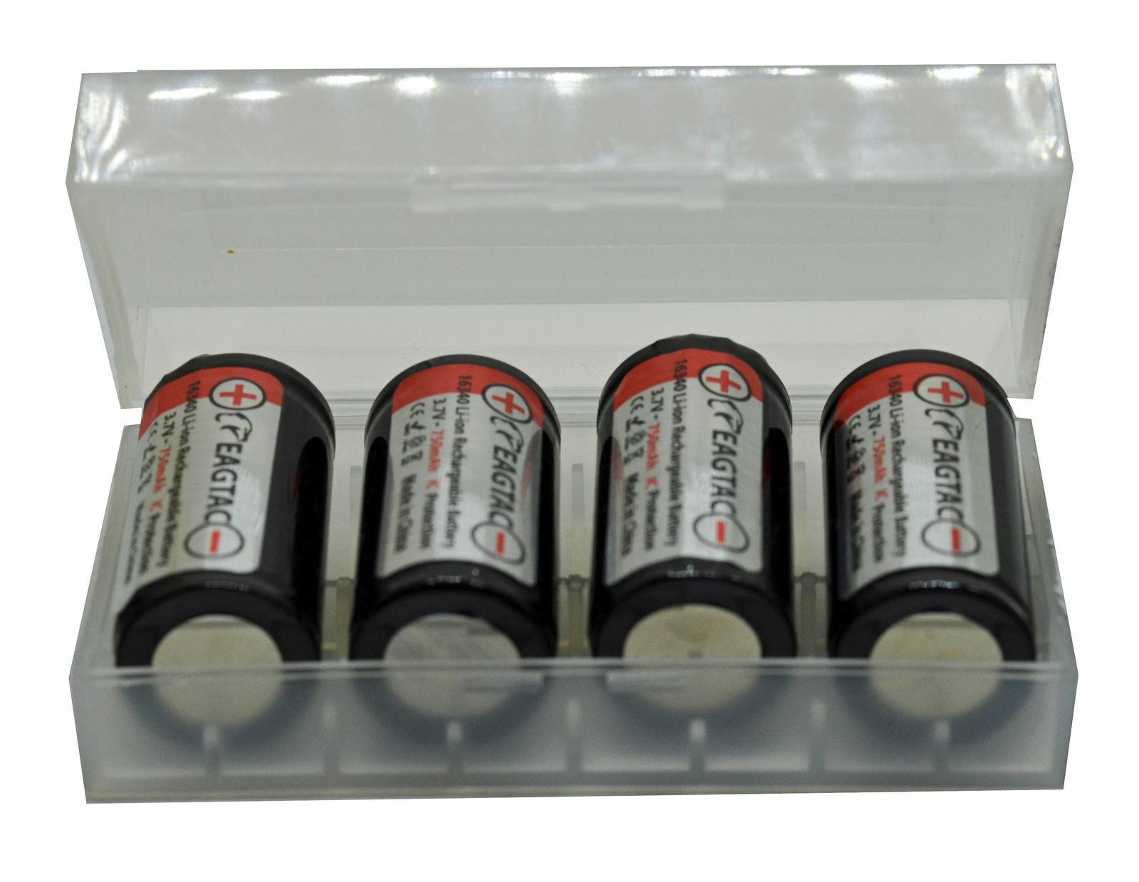 Eagtac LiIonio Batteria 16340RCR123 750 MAH 3,7V geschützt 4  Akkubox
