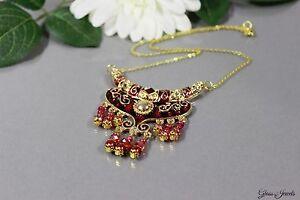 Glass-Jewels-Gold-Kette-Collier-Statement-Perlen-Orientalisch-Rot-Filigran-B014