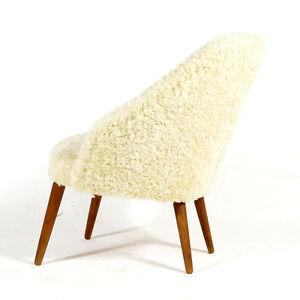 Retro-Vintage-Danish-Teak-amp-Wool-Cocktail-Lounge-Chair-Armchair-Modern-50s-60s