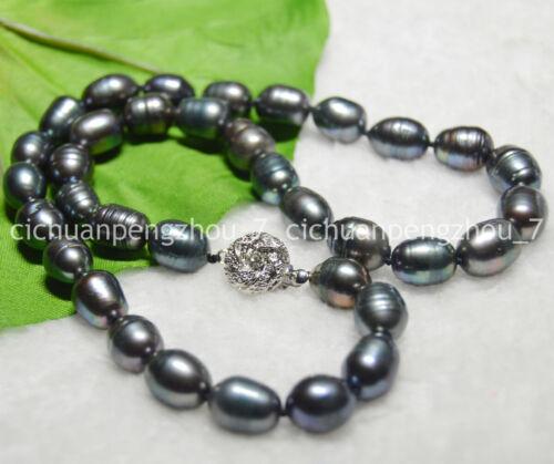 Natural 10-11mm Tahitian Black Rice-shaped Pearl Necklace 18//24/'/'