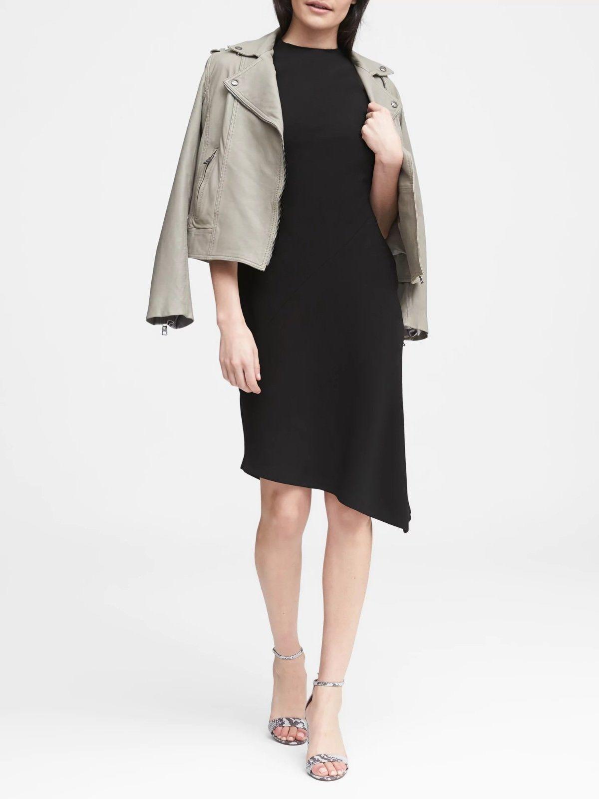 Banana Republic Mock-Neck Sheath Dress, schwarz, Größe 14P(Petite), NWT,Retail