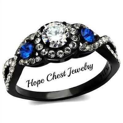 WOMEN'S BLACK STAINLESS STEEL 0.50 CT BLUE AND CLEAR CZ ENGAGEMENT RING SIZE 9