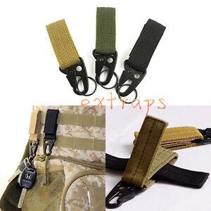 Outdoor Military Nylon Key Hook Webbing Molle Buckle Hanging Belt Carabiner Clip