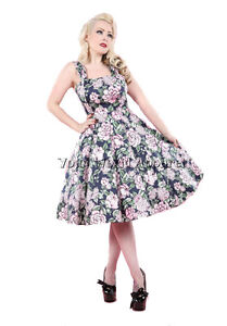 navy blue floral dress pinup cocktail swing 50s vintage