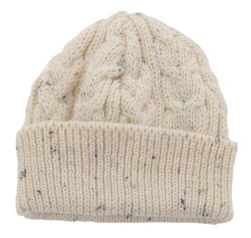 Mens Ladies Soft Warm 100/% Wool Lambswool Aran Bob Hat Beanie Natural Cream