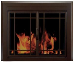 Pleasant Hearth Fireplace Glass Screen Doors Mesh Panel Enfield