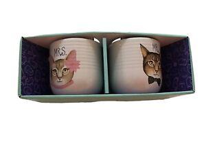Mrs-amp-Mr-Cat-Mug-Set-NEW-IN-OPEN-BOX