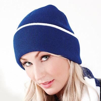 Beechfield Teamwear Beanie Hat Inverno Caldo Doppio Strato Lavorato A Maglia In Lana Berretto Bc471-mostra Il Titolo Originale