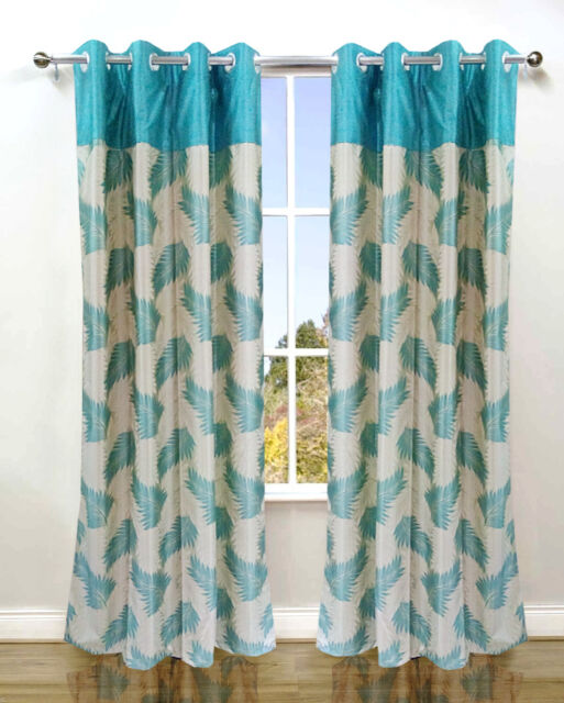 Homefab India Set of 2 Stylish Candy Aqua Curtains (HF066)